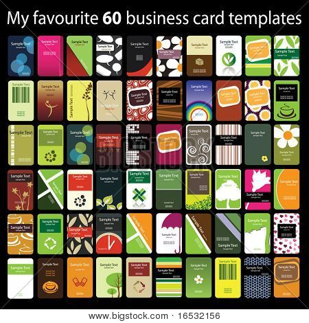 60 Cartões verticais coloridas