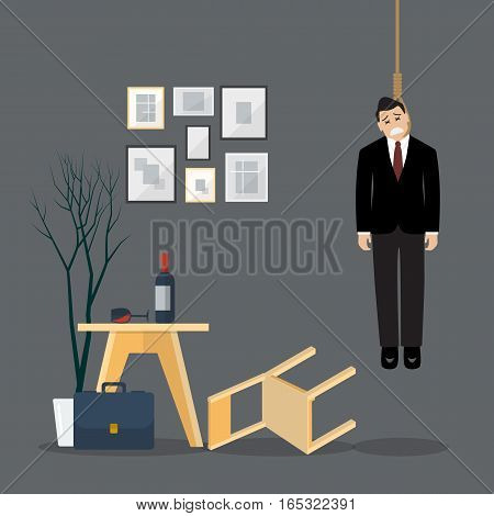 Businessman hang himself in his room. Man committing suicide