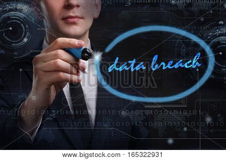 Business, Technology, Internet And Network Concept. Young Business Man Writing Word: Data Breach