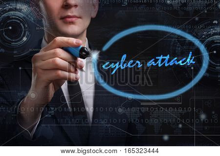 Business, Technology, Internet And Network Concept. Young Business Man Writing Word: Cyber Attack
