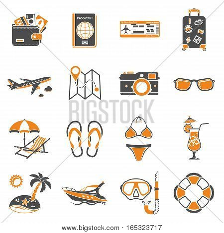 Vacation and Tourism two color Icons Set with tickets, boat, cocktail, island and deck chair. Isolated vector illustration