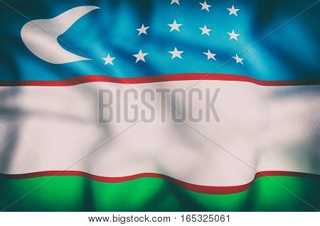 Republic Of Uzbekistan Flag Waving
