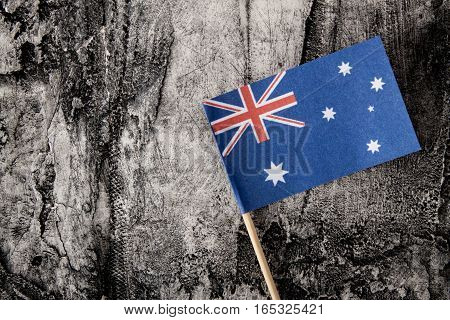 Australian flag on scratched background. National day