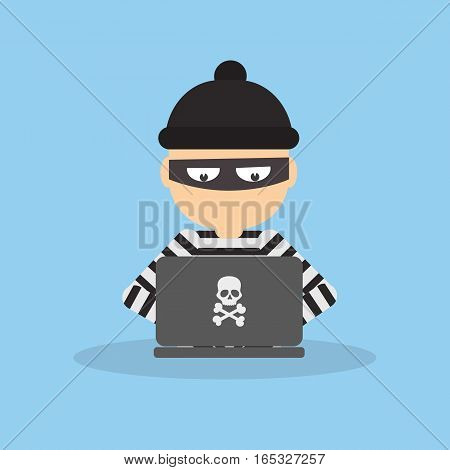 Criminal hacker with laptop. Funny cartoon thief in black mask stealing information from laptop. Concept of fraud, cyber crime.