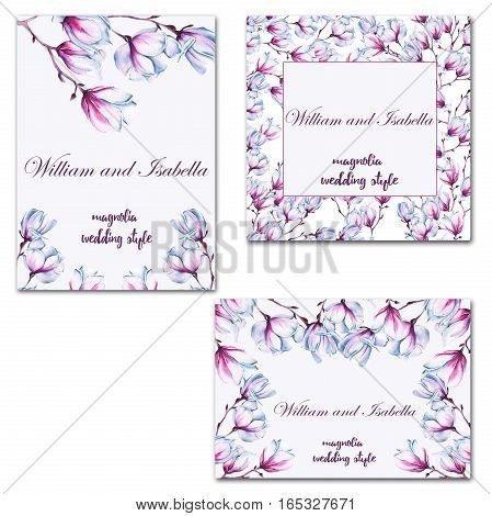 Wedding card or invitation. With magnolia flower. Watercolor illustration.