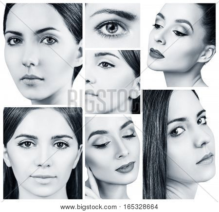 Collage of beautiful young women's with perfect skin and makeup.