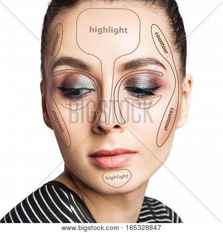 Contour and highlight tutorial makeup. Professional contouring face make-up sample