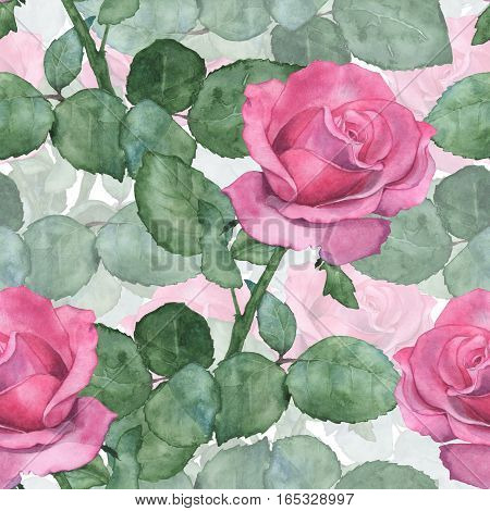 Watercolor seamless pattern of pink roses. Hand-drawing