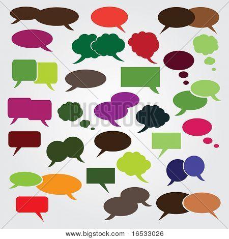 Colección de colorido discurso y pensamiento burbujas fondo Vector