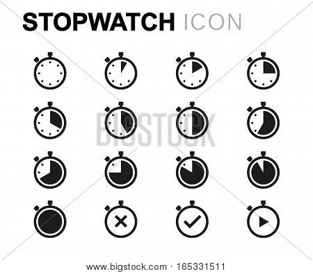 Vector line stopwatch icons set on white background