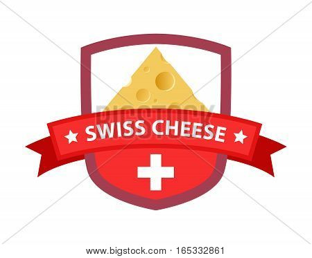 Red Badge with Flag of Switzerland and Triangle Piece of Cheese isolated on White background.