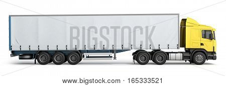 Big Truck Trailer On White Background With Soft Shadows 3D Illustration