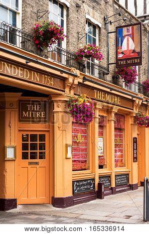 Cambridge Cambridgeshire United Kingdom - June 24 2006: The Mitre pub sitting on Bridge street is a traditional english pub.