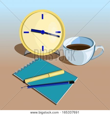 Flat design vector illustration. Business workplace with clock, cup of coffee, pen, pencil and notebook on the blue - brown background
