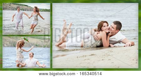 Collage - loving couple has fun on the beach