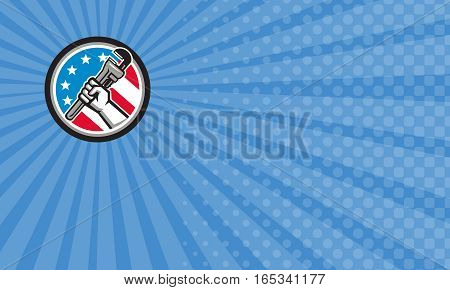 Business card showing Illustration of a plumber hand holding adjustable pipe wrench in an angled position viewed from the side set inside circle with usa american stars and stripes flag done in retro style.