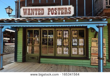 SIOUX CITY GRAN CANARIA - FEB 20 2014: Wanted posters house of wild west town in Sioux City. Popular tourist attraction in Gran Canaria island