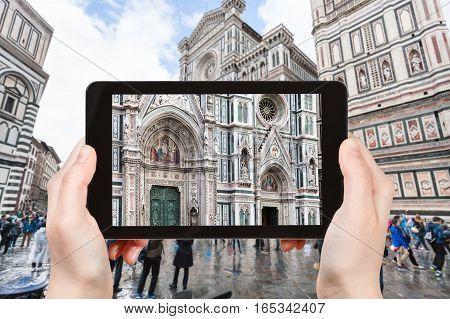 Tourist Photographs Facade Of Duomo In Florence