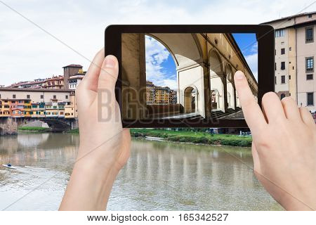 Tourist Photographs Vasari Corridor In Florence