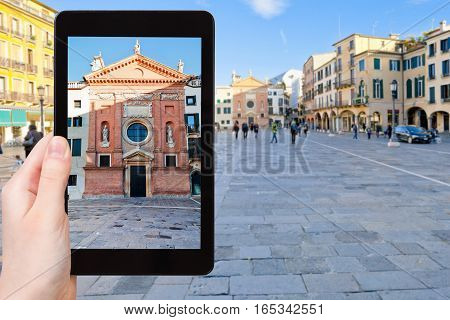 Tourist Photographs Church In Padua City