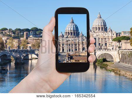 Tourist Photographs Vatican Basilica From Rome