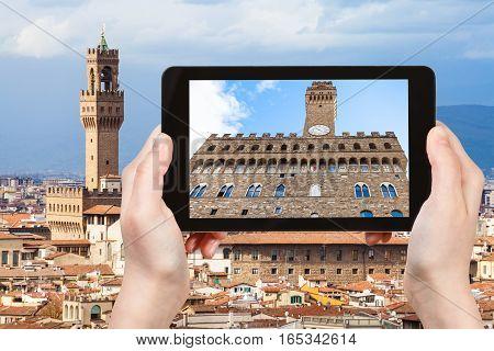 Tourist Photographs Facade Of Palazzo Vecchio
