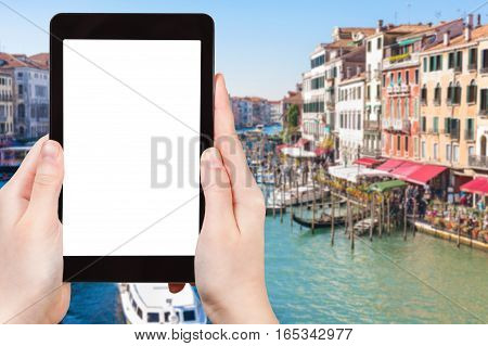 Tourist Photographs Grand Canal In Venice City