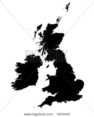 Detailed B/W Map Of United Kingdom