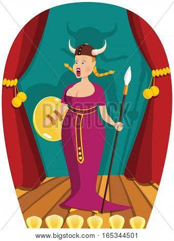 An illustration of an opera singer performing on stage.