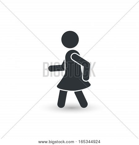 Walking woman icon silhouette vector simple illustration.