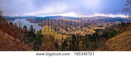 Lokvarsko Lake And Valley Panoramic View