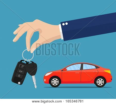 Dealer giving keys chain to a buyer hand. car rental or sale concept. vector illustration in flat style