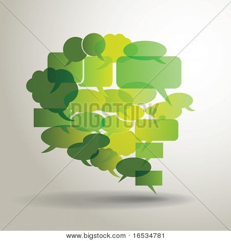 Big green speech bubble made from small bubbles