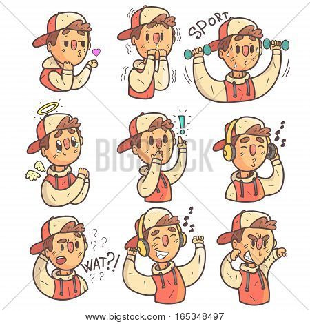 Boy In Cap And College Jacket Collection Of Hand Drawn Different Emotions Cool Outlined Portraits. Set Of Funky Flat Vector Stickers With Teenager Different Emotional Facial Expressions In Comics Style.