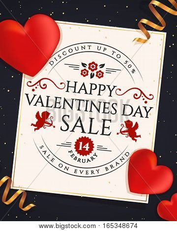 Valentines Day discount. Elegant card with hearts ribbons and typographic badge. Vector sale banner.