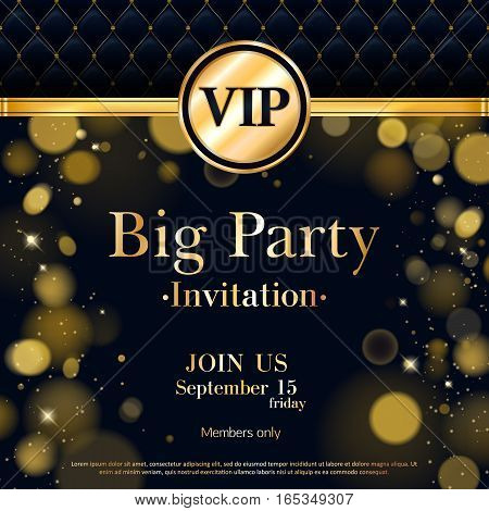 VIP party premium invitation card poster flyer. Black and golden design template. Quilted pattern decorative background with gold ribbon and round badge. Bokeh glow design.