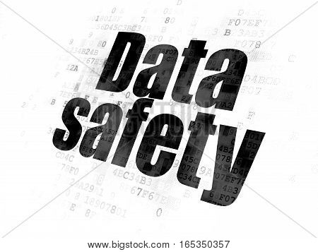 Data concept: Pixelated black text Data Safety on Digital background