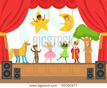 Children Actors Performing Fairy-Tale On Stage On Talent Show Colorful Vector Illustration With Talented Schoolkids Theatre Performance. Happy Kids Showing Their Artistic Talents In Show