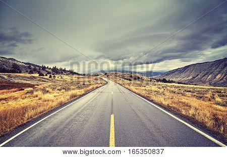 Vintage Toned Scenic Road With Stormy Clouds, Travel Concept