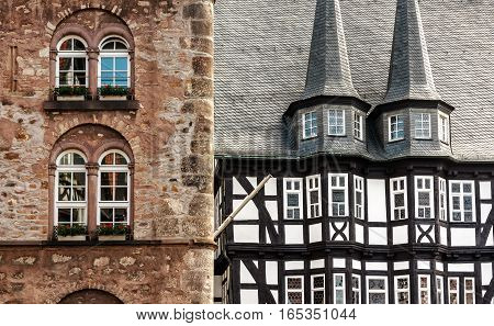 Medieval buildings, Weinhaus and Town Hall in historic center of Alsfeld, Germany