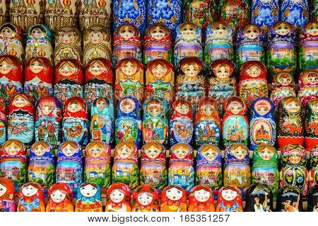 Traditional russian colourful matryoshka on exhibition fair