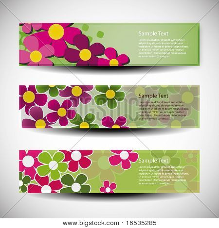 Vector set of tree banner design with flowers