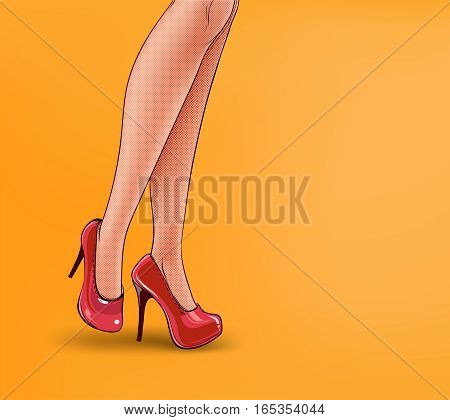 pop art illustration of female legs, shod in high-heeled shoes