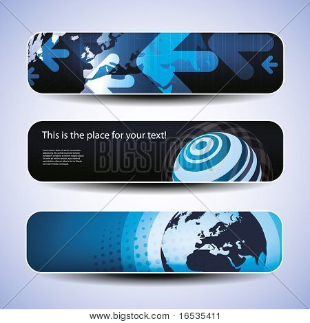 Vector set of three header design