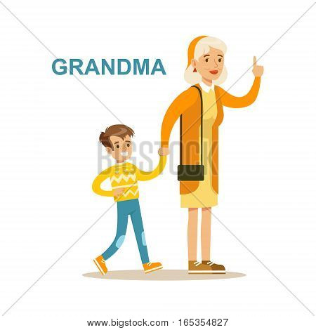 Grandma Walking With Grandson, Happy Family Having Good Time Together Illustration. Household Members Enjoying Spending Time Together Vector Cartoon Drawing.