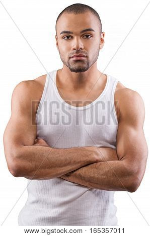 Handsome and Muscular Man Standing with Arm Folded - Isolated