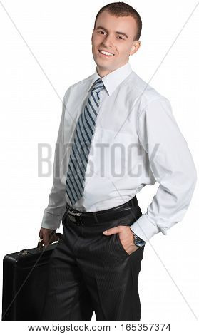 Businessman Standing with Briefcase and Hand in Pocket - Isolated