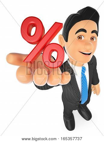 3d business people illustration. Businessman showing a percent symbol. Sales concept. Isolated white background.