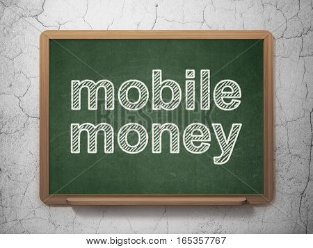Currency concept: text Mobile Money on Green chalkboard on grunge wall background, 3D rendering