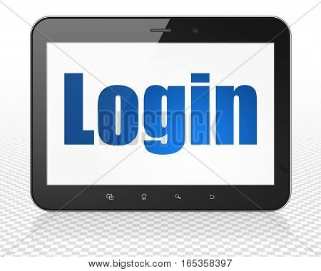 Safety concept: Tablet Pc Computer with blue text Login on display, 3D rendering